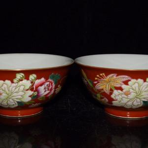 瓷器 胭脂红釉珐琅彩牡丹花卉碗