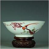 绝对真品!全品相美器!解放初红梅绶带鸟粉彩细瓷大碗