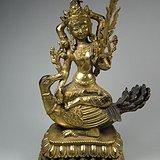 老黄铜鎏金莲花座藏传佛教大梵天佛像一尊