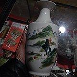 山水图案老花瓶一只