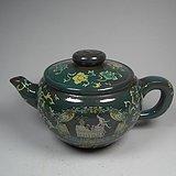 几十年的半手工紫砂釉绿釉花卉大茶壶