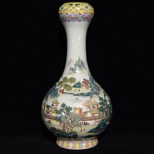 瓷器 粉彩山水楼阁人物蒜头瓶