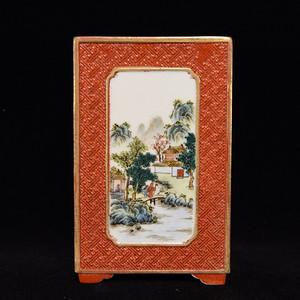 瓷器 珊瑚红釉雕刻开光粉彩山水诗文方笔筒