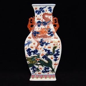 瓷器 青花粉彩五龙纹双耳方瓶
