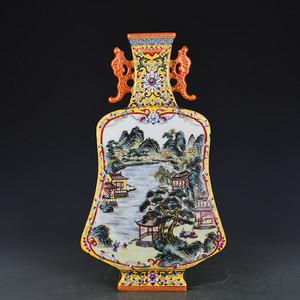 瓷器 黄地开光粉彩山水双耳琵琶扁瓶