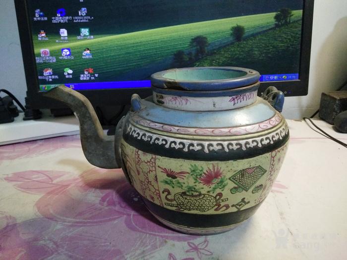 清代紫砂加彩大园壶