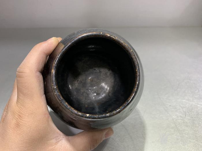 全品明代黑釉鸡心罐