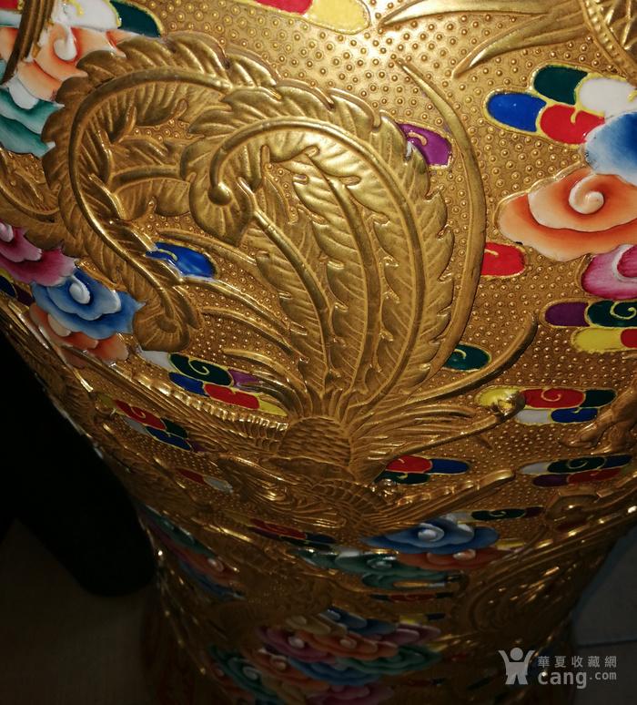 雕瓷鎏金龙凤呈祥赏瓶图片